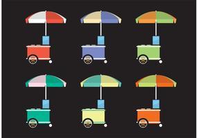 Vecteurs de chariots alimentaires colorés