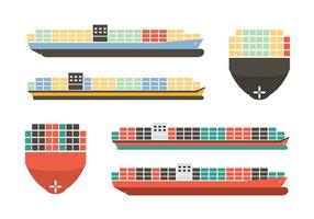Vecteurs de navires à conteneurs colorés