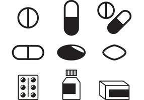 Vetores de comprimidos preto e branco