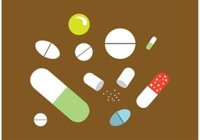 Set di pillole bianche semplice vettore piatto