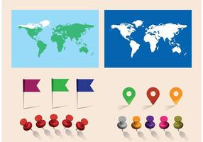 Mapa del mundo libre del vector con los pernos