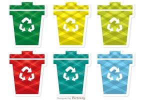 Colorful Patterned Garbage Icon Vector pack