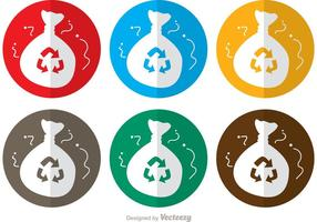 Circle Icon Rubbish Bag Vectors Pack