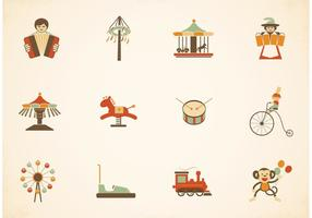 Vintage Amusement Park Vector Icons