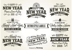 New Years Retro Style Labels