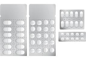 Vecteurs de pilules blanches