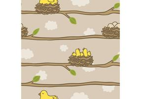 Free Bird in Nest Pattern Vektor