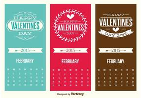 Cute Mini Valentines Day Calendar Cards vector