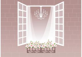 Ventana Libre Con Cortina Y Flores Vector