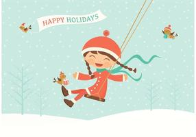 Vector Happy Holidays Swinging Kid