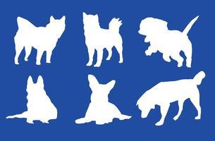 Silhuetas brancas do cão do vetor