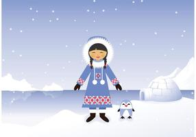 Girl Eskimo Vector Free In Snowy Polar Background