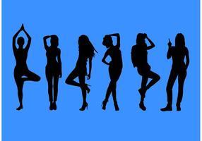 Conjunto de vector de silueta de mujer