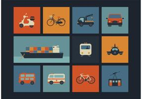 Gratis Vector Retro Transport Ikoner