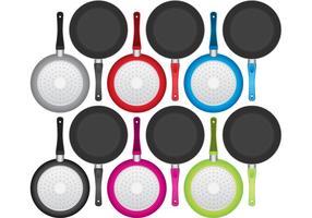 Färgglada Pan med Handtagvektorer