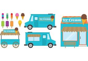 Food Cart En Ice Cream Shop vector