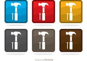 Pacchetto di icone vettoriali martello quadrato e chiodo