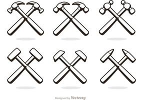 Cross hammer icons vector pack