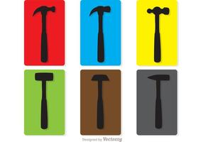 Colorido silueta martillos Vector Pack