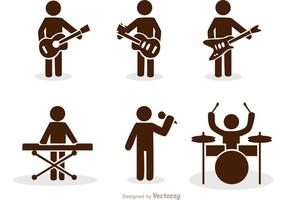 Band Stick Figure Icons Vector Pack