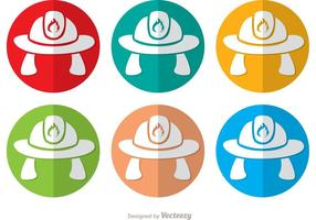 Colorful Fireman Hat Icon Vectors Pack