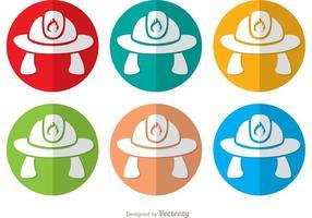 Kleurrijke Fireman Hat Icon Vectoren Pack
