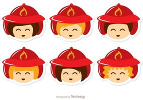 Kids Face Fireman Vector Pack