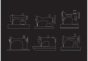 Des vecteurs de machines à coudre vintage décrits