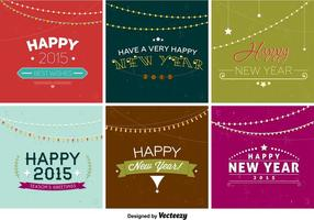 Happy New Year Retro Badges vector