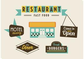 50s Diner, Motel, and Fast Food Pack  vector