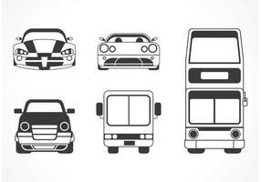 Silhouette vettoriali gratis auto e autobus