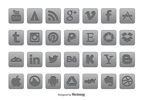 Gray Social Media Icon Set