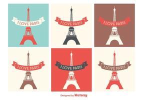Eiffelturm-Vektor-Etiketten