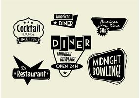 50s Diner, Bowling, and Cocktail sign Pack vector