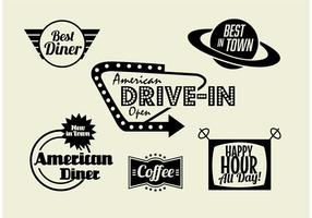 50's Diner, Koffie en Fast Food Pack vector