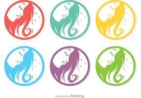 Pack de vetores de ícones coloridos da beleza