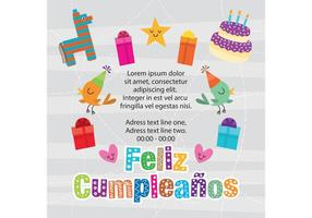 Cumpleaños Inbjudningsvektor