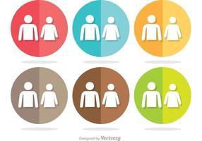 Enkel cirkel man och kvinna vila rum ikoner vektor pack