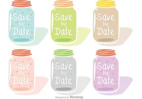 Save The Date Mason Jar Vectors