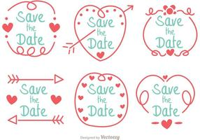 Dibujado a mano Save The Date Vector Pack