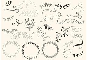 Handled Draled Swirls et Wreath Vectors