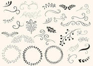 Hand Drawn Swirls and Wreath Vectors