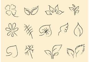 Sketchy conjunto de vectores de hoja