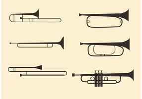Messing-Musikinstrument-Vektoren vektor