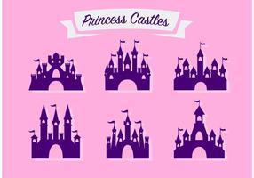 Insieme vettoriale di bella principessa castello