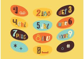 Retro Letter and Number Vectors