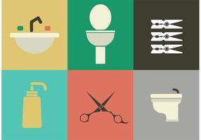 Ícones vetoriais de sala de descanso e higiene
