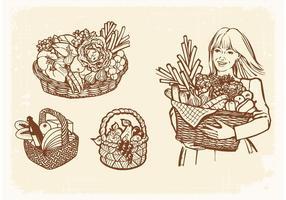 Vecteur libre dessiné vieux paniers avec de la nourriture