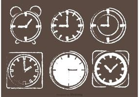 Chalk Drawn Desktop Clock Vectors