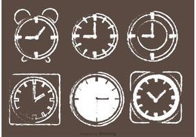 Vectores de reloj de escritorio dibujados con tiza